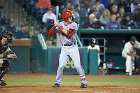 Cody Wilson (4) of the Hagerstown Suns at bat against the Greensboro Grasshoppers at First National Bank Field on April 6, 2019 in Greensboro, North Carolina. The Suns defeated the Grasshoppers 6-5. (Brian Westerholt/Four Seam Images)