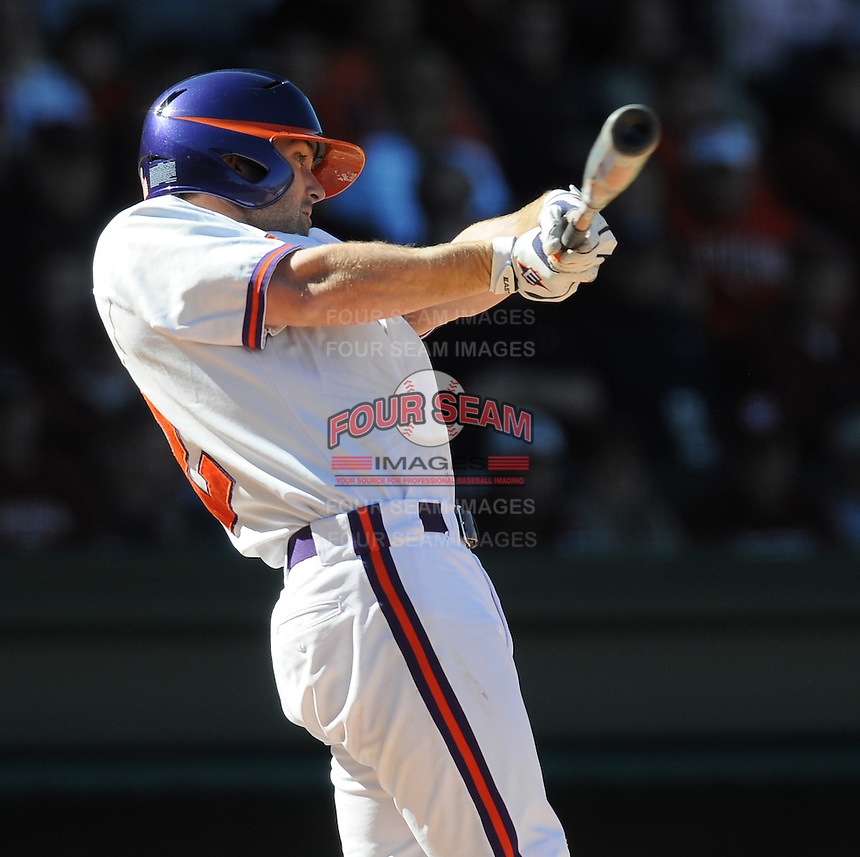 Clemson designated hitter Wilson Boyd (12) hits during a game between the Clemson Tigers and South Carolina Gamecocks Saturday, March 6, 2010, at Fluor Field at the West End in Greenville, S.C. Photo by: Tom Priddy/Four Seam Images