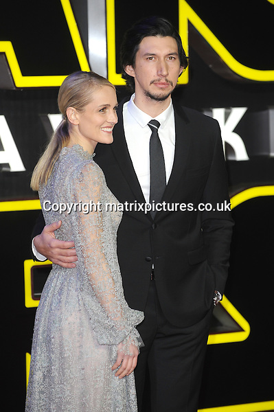 NON EXCLUSIVE PICTURE: PAUL TREADWAY / MATRIXPICTURES.CO.UK<br /> PLEASE CREDIT ALL USES<br /> <br /> WORLD RIGHTS<br /> <br /> American actor Adam Driver and his wife, Joanne Tucker attending the European Premiere of Star Wars: The Force Awakens in Leicester Square, in London.<br /> <br /> DECEMBER 16th 2015<br /> <br /> REF: PTY 153700
