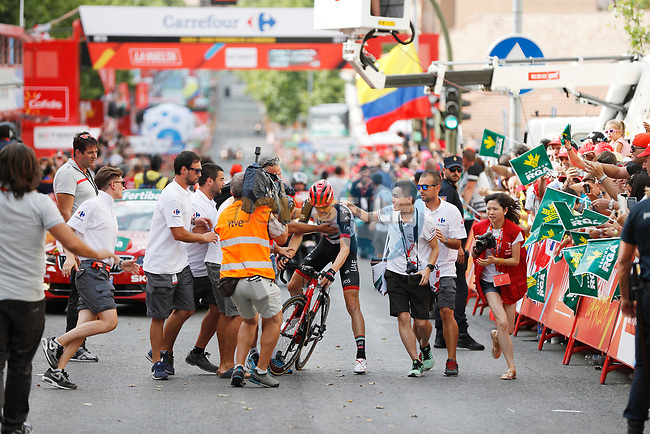 Matej Mohoric (SLO) UAE Team Emirates wins Stage 7 solo of the 2017 La Vuelta, running 207km from Ll&iacute;ria-Cuenca, Spain. 25th August 2017.<br /> Picture: Unipublic/&copy;photogomezsport | Cyclefile<br /> <br /> <br /> All photos usage must carry mandatory copyright credit (&copy; Cyclefile | Unipublic/&copy;photogomezsport)