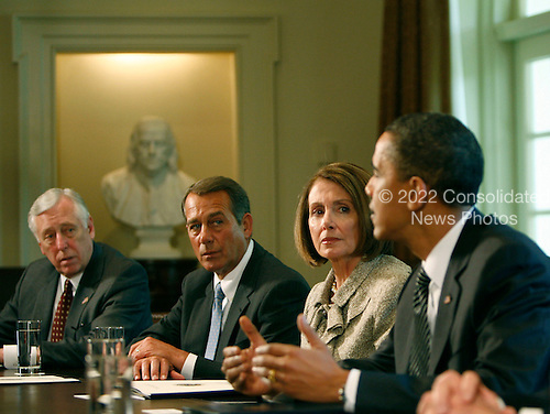 United States President Barack Obama participates in a bipartisan Congressional Leadership meeting in the Cabinet Room of the White House on Wednesday, April 14, 2010.  (left to right:  U.S. House Majority Leader Steny Hoyer (Democrat of Maryland); U.S. House Republican Leader John A. Boehner (Republican of Ohio);  Speaker of the U.S. House Nancy Pelosi (Democrat of California); and President Obama..Credit: Dennis Brack / Pool via CNP
