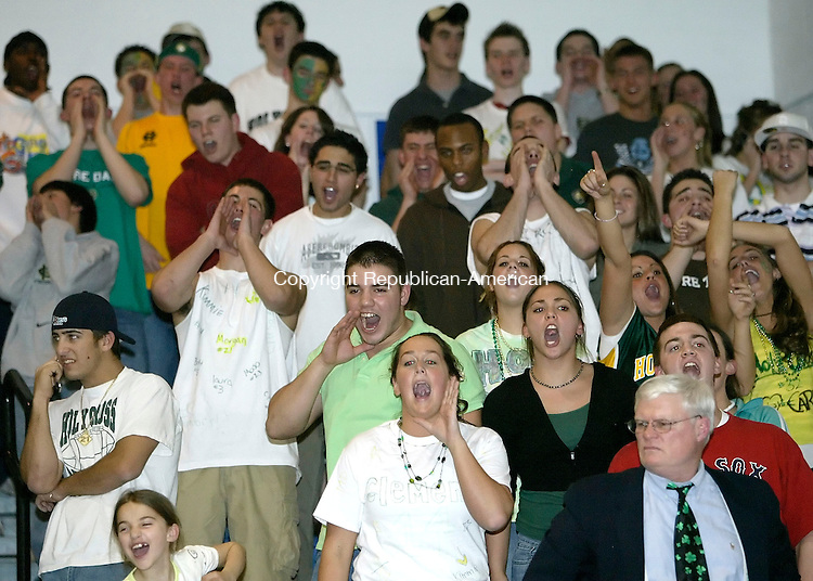 NEW BRITAIN, CT. 11 MARCH 2006- 031106BZ05-  Holy Cross High School fans cheer for their team during the championship game of the Class M basketball tournament at Central Connecticut State University Saturday.  <br /> Holy Cross was defeated by Stonington 57-48.<br /> Jamison C. Bazinet Republican-American