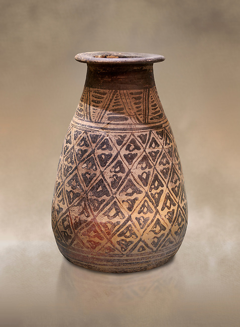 The Minoan decorated clay alabastron burial vessels with geometric design , Kamilari 1500-1300  BC; Heraklion Archaeological  Museum.