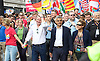Pride London <br /> setting up before the Parade and during the Parade <br /> London, Great Britain <br /> 25th June 2016 <br /> <br /> US Ambassador <br /> Sadiq and Saadiya Khan<br /> head the parade <br /> <br /> <br /> Photograph by Elliott Franks <br /> Image licensed to Elliott Franks Photography Services