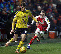 Fleetwood Town's Harrison Biggins looks to close down Oxford United's Josh Ruffels<br /> <br /> Photographer Rich Linley/CameraSport<br /> <br /> The EFL Sky Bet League One - Fleetwood Town v Oxford United - Saturday 12th January 2019 - Highbury Stadium - Fleetwood<br /> <br /> World Copyright &copy; 2019 CameraSport. All rights reserved. 43 Linden Ave. Countesthorpe. Leicester. England. LE8 5PG - Tel: +44 (0) 116 277 4147 - admin@camerasport.com - www.camerasport.com