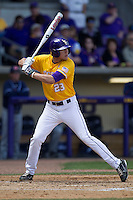 LSU Tigers second baseman JaCoby Jones #23 at bat against the Auburn Tigers in the NCAA baseball game on March 24, 2013 at Alex Box Stadium in Baton Rouge, Louisiana. LSU defeated Auburn 5-1. (Andrew Woolley/Four Seam Images).
