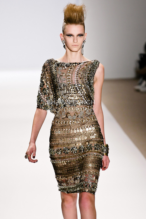 Tetyana Melnychuk walks the runway in a Naeem Khan Fall 2010 outfit, during Mercedes-Benz Fashion Week Fall 2010.