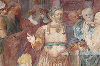 Detail of The Unity of the State, showing the King holding a pomegranate, fresco by Rosso Fiorentino, 1535-37, in the Galerie Francois I, begun 1528, the first great gallery in France and the origination of the Renaissance style in France, Chateau de Fontainebleau, France. The Palace of Fontainebleau is one of the largest French royal palaces and was begun in the early 16th century for Francois I. It was listed as a UNESCO World Heritage Site in 1981. Picture by Manuel Cohen