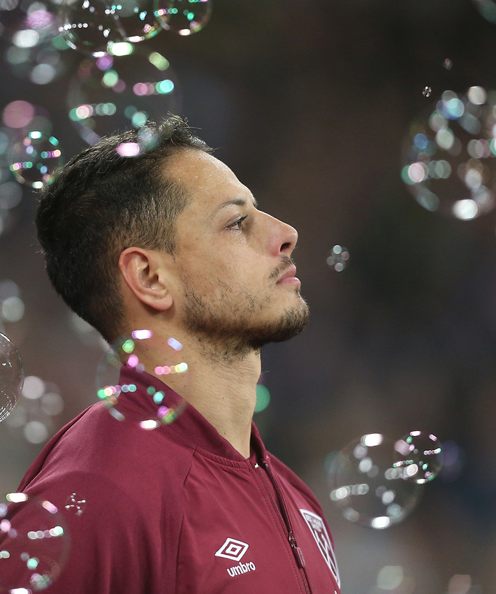 West Ham United's Javier Hernandez<br /> <br /> Photographer Rob Newell/CameraSport<br /> <br /> The Premier League - West Ham United v Cardiff City - Tuesday 4th December 2018 - London Stadium - London<br /> <br /> World Copyright © 2018 CameraSport. All rights reserved. 43 Linden Ave. Countesthorpe. Leicester. England. LE8 5PG - Tel: +44 (0) 116 277 4147 - admin@camerasport.com - www.camerasport.com