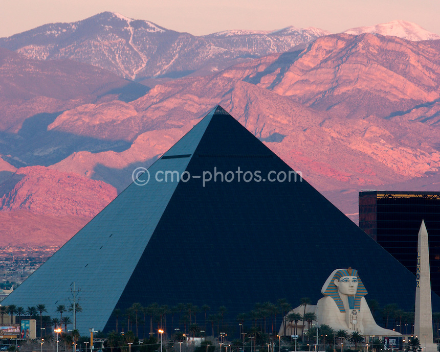 Sunrise over the Luxor Hotel and Casino in Las Vegas, Nevada.