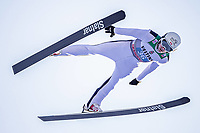 1st January 2020, Olympiaschanze, Garmisch Partenkirchen, Germany, FIS World cup Ski Jumping, 4-Hills competition; Mackenzie Boyd-Clowes of Canada during his trial Jump for the Four Hills Tournament