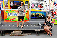 4/10/2010. Traveller girls Megan Vaughan and Charlene Mongan aged 18 from Galway are pictured at the fun fair at the Ballinasloe Horse Fair, Ballinasloe, County Galway, Ireland. Picture James Horan
