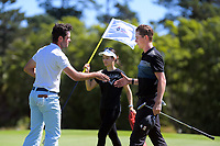 Charlie Smail congratulates Daniel Hillier for making the Super 6s final. Final day of the Jennian Homes Charles Tour / Brian Green Property Group New Zealand Super 6s at Manawatu Golf Club in Palmerston North, New Zealand on Sunday, 8 March 2020. Photo: Dave Lintott / lintottphoto.co.nz