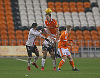 Blackpool's Ben Heneghan heads over the top of Charlton Athletic's Lyle Taylor<br /> <br /> Photographer Stephen White/CameraSport<br /> <br /> The EFL Sky Bet League One - Blackpool v Charlton Athletic - Saturday 8th December 2018 - Bloomfield Road - Blackpool<br /> <br /> World Copyright &copy; 2018 CameraSport. All rights reserved. 43 Linden Ave. Countesthorpe. Leicester. England. LE8 5PG - Tel: +44 (0) 116 277 4147 - admin@camerasport.com - www.camerasport.com