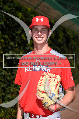David Luethje (17) of Vero Beach High School in Vero Beach, Florida during the Under Armour All-American Game presented by Baseball Factory on July 29, 2017 at Wrigley Field in Chicago, Illinois.  (Mike Janes/Four Seam Images)