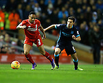Nathaniel Clyne of Liverpool tussles with Jesus Navas of Manchester City - English Premier League - Liverpool vs Manchester City - Anfield Stadium - Liverpool - England - 3rd March 2016 - Picture Simon Bellis/Sportimage