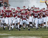 STAFF PHOTO ANTHONY REYES &bull; @NWATONYR<br /> Arkansas Daunte Carr (52) celebreates as the team comes out of the tunnel before their game against Northern Illinois University Saturday, Sept. 20, 2014 at Razorback Stadium in Fayetteville. The Razorbacks won 52-14.