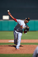 Surprise Saguaros pitcher Alex Reyes (27) during an Arizona Fall League game against the Scottsdale Scorpions on October 22, 2015 at Scottsdale Stadium in Scottsdale, Arizona.  Surprise defeated Scottsdale 7-6.  (Mike Janes/Four Seam Images)