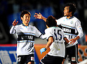 (L-R) Kosuke Yamamoto, Minoru Suganuma, Ryoichi Maeda (Jubilo),.MARCH 25, 2011 - Football / Soccer :.Kosuke Yamamoto of Jubilo Iwata celebrates with his teammates Minoru Suganuma and Ryoichi Maeda after scoring the opening goal during the 2012 J.League Division 1 match between Gamba Osaka 1-2 Jubilo Iwata at Expo '70 Stadium in Osaka, Japan. (Photo by AFLO)