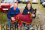 Sean and Marion Counihan from Tralee with their dog, Kerrys Hero at the Castleisland Coursing meeting on Monday.
