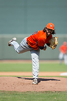 Buies Creek Astros relief pitcher Ralph Garza (26) follows through on his delivery against the Winston-Salem Dash at BB&T Ballpark on April 16, 2017 in Winston-Salem, North Carolina.  The Dash defeated the Astros 6-2.  (Brian Westerholt/Four Seam Images)