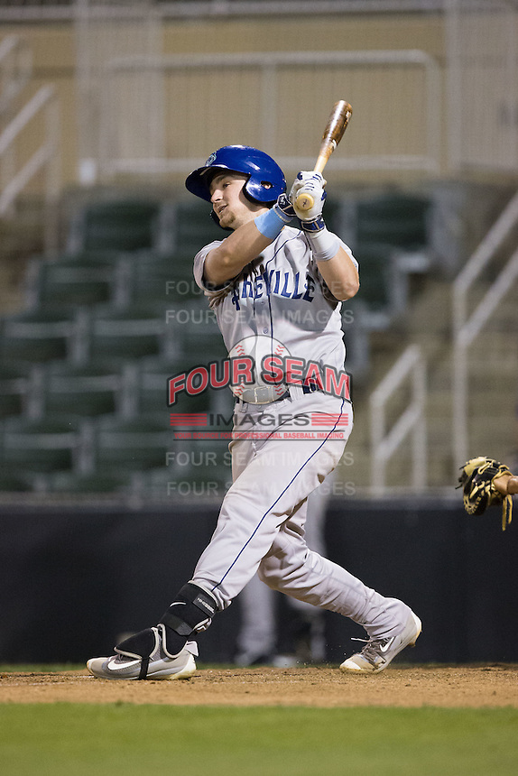 Brendan Rodgers (1) of the Asheville Tourists follows through on his swing against the Kannapolis Intimidators at Kannapolis Intimidators Stadium on May 27, 2016 in Kannapolis, North Carolina.  The Tourists defeated the Intimidators 7-6.  (Brian Westerholt/Four Seam Images)