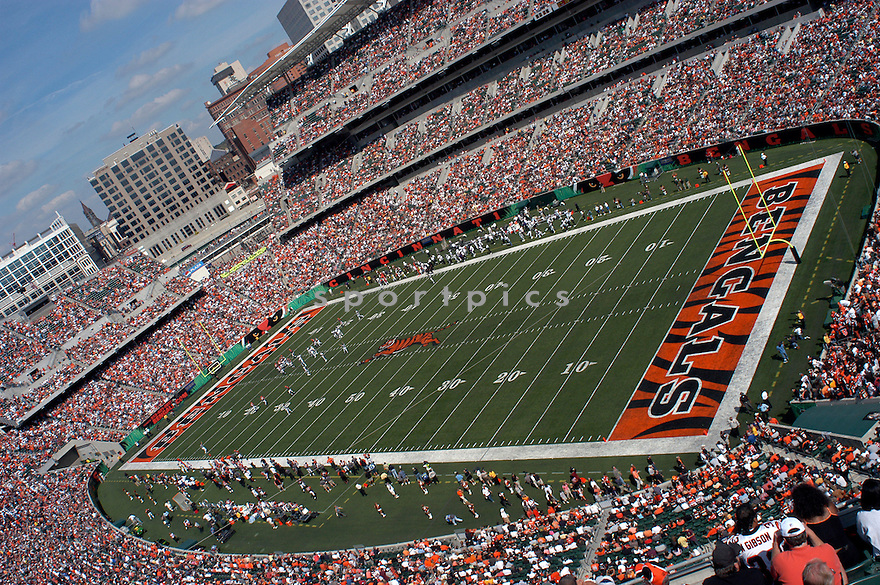 An overall view of Paul Brown Stadium in Cincinnati,  during a game between the Cincinnati Bengals and the Baltimore Ravens on September 24, 2004. (AP Photo/Chris Bernacchi)
