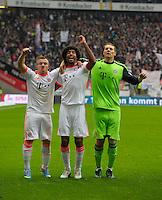 FRANKFURT, ALEMANHA, 06 ABRIL 2013 - CAMPEONATO ALEMÃO - EINTRACHT FRANKFURT X BAYERN MUNIQUE - Xherdan Shaqiri (E), Dante e Manuel Neuer do Bayern de Munique comemora a conquista do Campeonato Alemão com sete rodadas de antecendencia em partida contra o Eintracht Frankfur na cidade de Frankfurt na Alemanha, neste sábado, 06.  FOTO: BERND FEIL /  PIXATHLON / BRAZIL PHOTO PRESS.