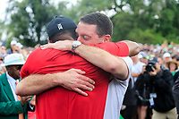 Tiger Woods (USA) celebrates with Mark Steinberg after sinking his putt to win The 2019 Masters , Augusta National, Augusta, Georgia, USA. 14/04/2019.<br /> Picture Fran Caffrey / Golffile.ie<br /> <br /> All photo usage must carry mandatory copyright credit (© Golffile | Fran Caffrey)
