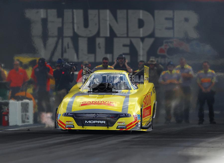 Jun 16, 2017; Bristol, TN, USA; NHRA funny car driver Matt Hagan during qualifying for the Thunder Valley Nationals at Bristol Dragway. Mandatory Credit: Mark J. Rebilas-USA TODAY Sports