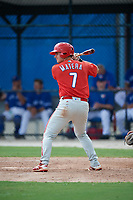 GCL Phillies West designated hitter Nick Matera (7) at bat during a game against the GCL Blue Jays on August 7, 2018 at Bobby Mattick Complex in Dunedin, Florida.  GCL Blue Jays defeated GCL Phillies West 11-5.  (Mike Janes/Four Seam Images)
