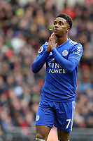 Demarai Gray of Leicester City spits after missing a great chance during Tottenham Hotspur vs Leicester City, Premier League Football at Wembley Stadium on 10th February 2019