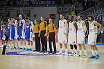 Real Madrid´s players and Anadolu Efes´s players during 2014-15 Euroleague Basketball Playoffs match between Real Madrid and Anadolu Efes at Palacio de los Deportes stadium in Madrid, Spain. April 15, 2015. (ALTERPHOTOS/Luis Fernandez)