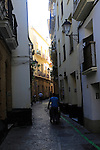 Narrow streets in housing area in old town centre of Cadiz, Spain