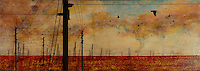 Encaustic art. Power lines and crows over antique map mixed media photo transfer/encaustic painting by Florida Artist Jeff League.