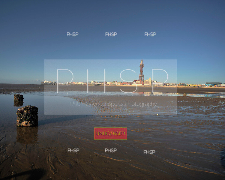 18/03/2011 Rarely exposed jetty supports beyond Central Pier jut out at low tide, Blackpool Lancashire UK.....© Phill Heywood.