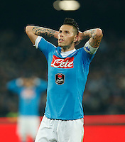 Napoli's Marek Hamsik reacts  during the  italian serie a soccer match,between SSC Napoli and AS Roma       at  the San  Paolo   stadium in Naples  Italy ,December 13, 2015