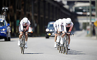 Rabobank-Liv Woman Cycling Team at work<br /> <br /> Elite Men&rsquo;s Team Time Trial<br /> UCI Road World Championships Richmond 2015 / USA