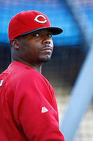 Norris Hooper of the Cincinnati Reds during batting practice before a game against the Los Angeles Dodgers in a 2007 MLB season game at Dodger Stadium in Los Angeles, California. (Larry Goren/Four Seam Images)