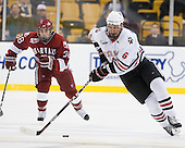 Conor Morrison (Harvard - 38), Jamie Oleksiak (Northeastern - 6) - The Northeastern University Huskies defeated the Harvard University Crimson 4-0 in their Beanpot opener on Monday, February 7, 2011, at TD Garden in Boston, Massachusetts.