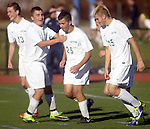 (Worcester, Ma 111613) Sutton high celebrates after scoring their 4th goal by 13, Dale Dubinsky, far left, in the3 second half,  Sutton High School beat Cohasset Middle High 4-0 during the MIAA State Boys Division Four Final, Saturday, November 16, 2013, at Foley Stadium in Worcester. (Jim Michaud Photo) For Sunday