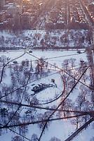 Aerial winter Boston Common, Boston, MA