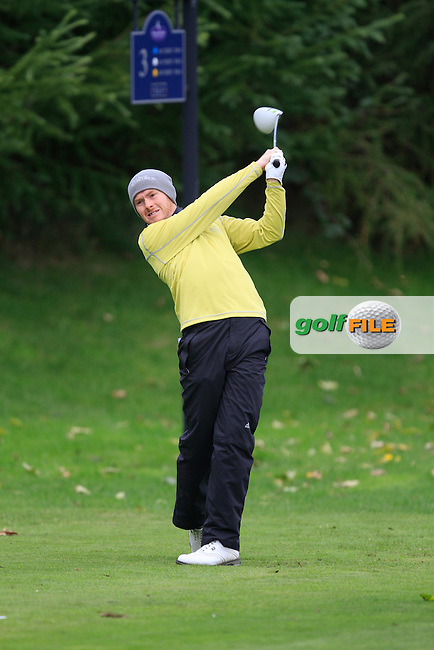 Noel Murray (Messereene G.C) on the 3rd tee during Round 2 of The Cassidy Golf 103rd Irish PGA Championship in Roganstown Golf Club on Friday 11th October 2013.<br /> Picture:  Thos Caffrey / www.golffile.ie