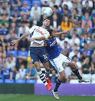 Preston North End's Andrew Hughes  jumps with Birmingham City's Lukas Jutkiewicz<br /> <br /> Photographer Mick Walker/CameraSport<br /> <br /> The EFL Sky Bet Championship - Birmingham City v Preston North End - Saturday 21st September 2019 - St Andrew's - Birmingham<br /> <br /> World Copyright © 2019 CameraSport. All rights reserved. 43 Linden Ave. Countesthorpe. Leicester. England. LE8 5PG - Tel: +44 (0) 116 277 4147 - admin@camerasport.com - www.camerasport.com
