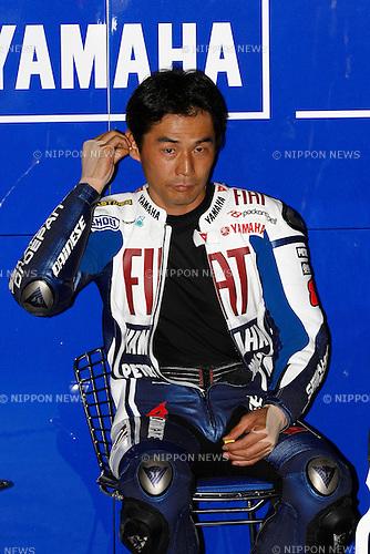 July 3, 2010 - Catalunya, Spain - Japanese rider Wataru Yoshikawa (Fiat Yamaha Team) takes a break during the Catalunya Grand Prix on July 3, 2010. (Photo Andrew Northcott/Nippon News).