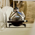 8 January 2016: Nicole Vogt, piloting her 2-man bobsled for the United States of America, enters the Chicane straightaway on her second run, ending the day with a combined 2-run time of 1:55.84 and earning an 8th place finish at the BMW IBSF World Cup Championships at the Olympic Sports Track in Lake Placid, New York, USA. Mandatory Credit: Ed Wolfstein Photo *** RAW (NEF) Image File Available ***
