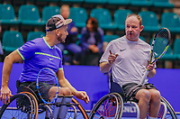 Rotterdam, Netherlands, December 15, 2017, Topsportcentrum, Ned. Loterij NK Tennis, Wheelchair doubles men, Patric Elzinga (R)  (NED) and Berry Korst (NED)<br /> Photo: Tennisimages/Henk Koster