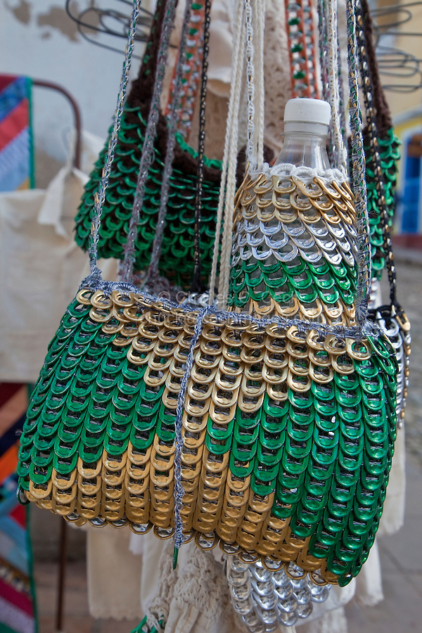 Cuba, Trinidad.  Purses and Bottle Carriers Made out of Tabs from Soft Drink Cans.