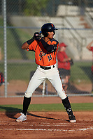 AZL Giants Orange Edison Mora (18) at bat during a game against the AZL Angels at Giants Baseball Complex on June 17, 2019 in Scottsdale, Arizona. AZL Giants Orange defeated AZL Angels 8-4. (Zachary Lucy/Four Seam Images)