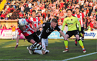 Lincoln City's Elliott Whitehouse vies for possession with Exeter City's Dean Moxey<br /> <br /> Photographer Chris Vaughan/CameraSport<br /> <br /> The EFL Sky Bet League Two Play Off Second Leg - Exeter City v Lincoln City - Thursday 17th May 2018 - St James Park - Exeter<br /> <br /> World Copyright &copy; 2018 CameraSport. All rights reserved. 43 Linden Ave. Countesthorpe. Leicester. England. LE8 5PG - Tel: +44 (0) 116 277 4147 - admin@camerasport.com - www.camerasport.com